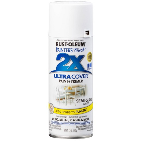Rust-Oleum 12oz 2X Painter's Touch Ultra Cover Semi Gloss Spray Paint White - image 1 of 1