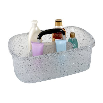 Granite Look Plastic Bath Tote Gray - Bath Bliss