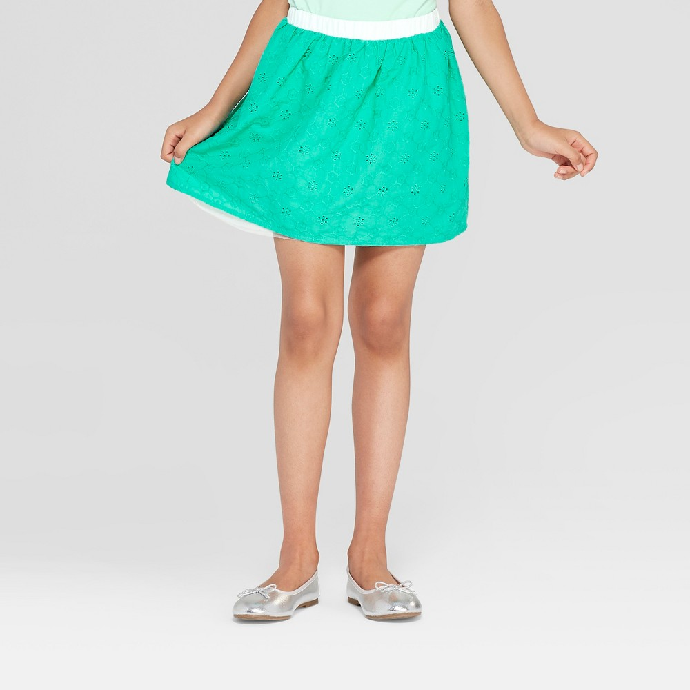 Girls' Floral Eyelet and Tulle Reversible Skirt - Cat & Jack Green XL