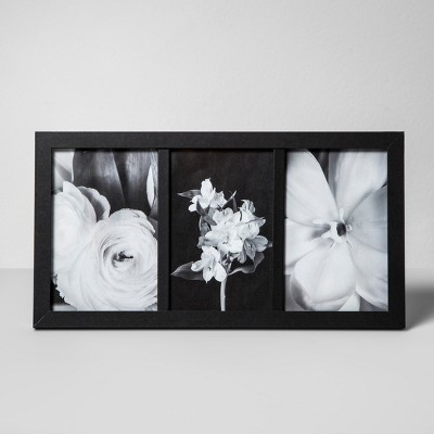Thin Frame Holds 3 Photos Black 4 x6  - Made By Design™