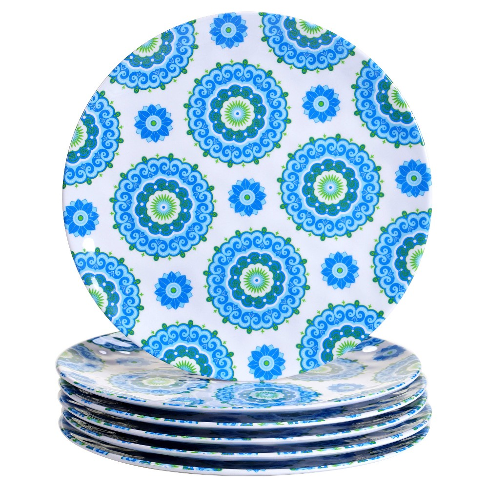 Certified International Boho by Debra Valencia Melamine Dinner Plates 11 Blue - Set of 6