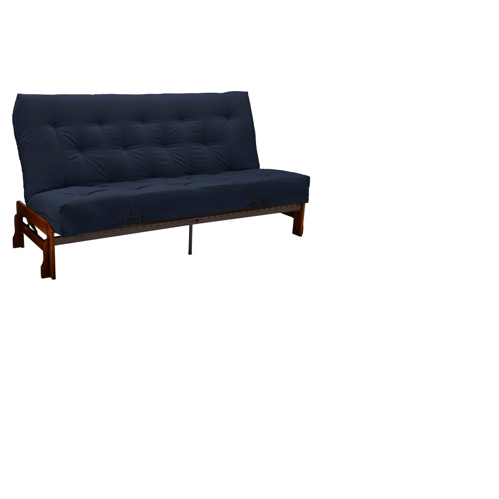 8 Low Arm Cotton & Foam Futon Sofa Sleeper Walnut Wood Finish Twill Navy - Epic Furnishings