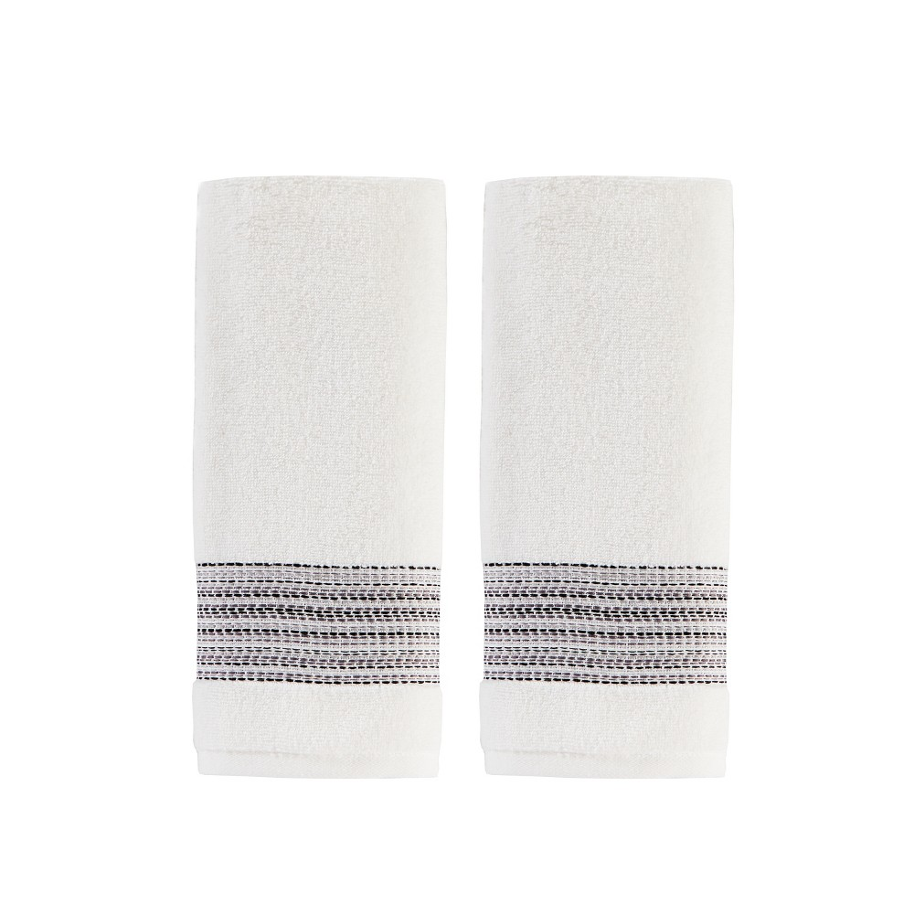 2pc Geo Stripe Hand Towel Bath Towels Sets White - Saturday Knight Ltd.