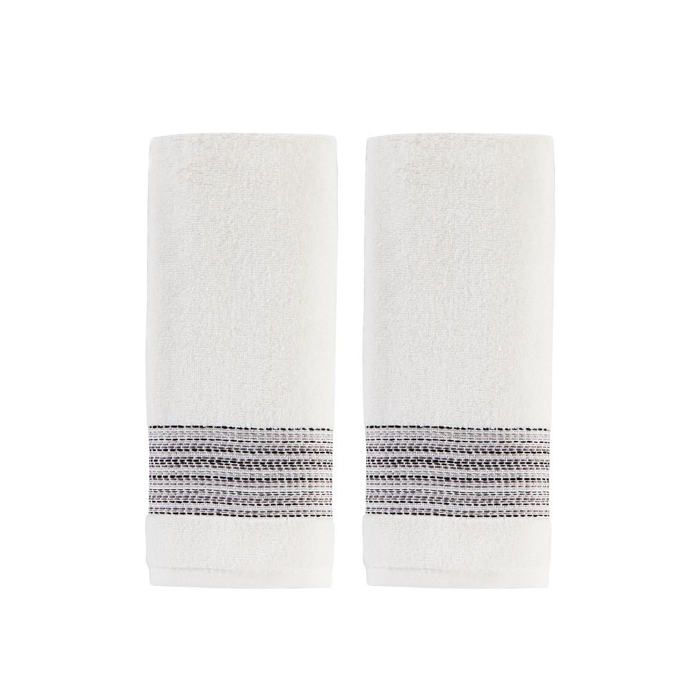 Image of 2pc Geo Stripe Hand Towel Set White - Saturday Knight Ltd.