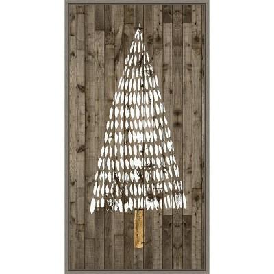"14"" x 26"" Wooded Whimsy II Tree by Grace Popp Framed Canvas Wall Art - Amanti Art"