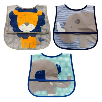 Neat Solutions 3pk Printed Translucent Peva/Knit Baby Bib Set - Green