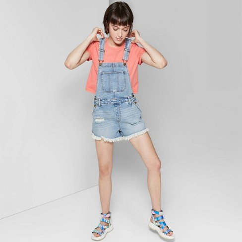 Women's Destructed Denim Shortalls - Wild Fable™ Light Wash - image 1 of 10