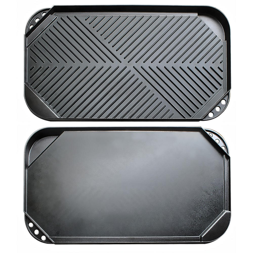 Image of Ecolution Kitchen Extras Double Burner Reversible Grill/Griddle, Dark Gray