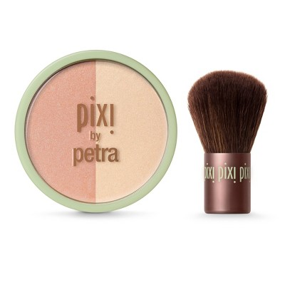 Pixi By Petra Beauty Blush Duo + Kabuki .36oz - Peach Honey
