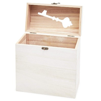 "Juvale Rustic Wood Wedding Card Box with Lock, White, 9.75""x5""x10"""