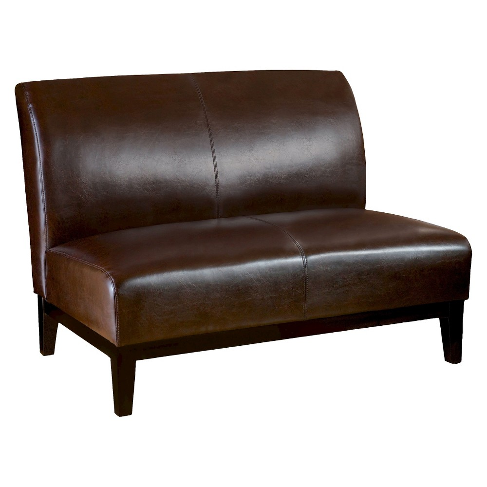 Darcy Bonded Leather Loveseat Brown - Christopher Knight Home