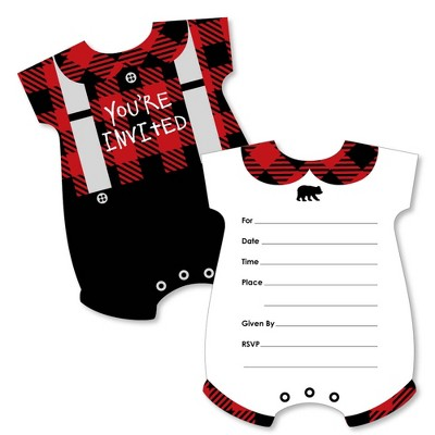 Big Dot of Happiness Lumberjack - Baby Bodysuit - Shaped Fill-in Invites - Baby Shower or 1st Birthday Party Invite Cards with Envelopes - Set of 12