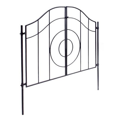 "42"" Tall Iron Tuscany Garden Gate with Poles Graphite Powder Coat Finish - Achla Designs"