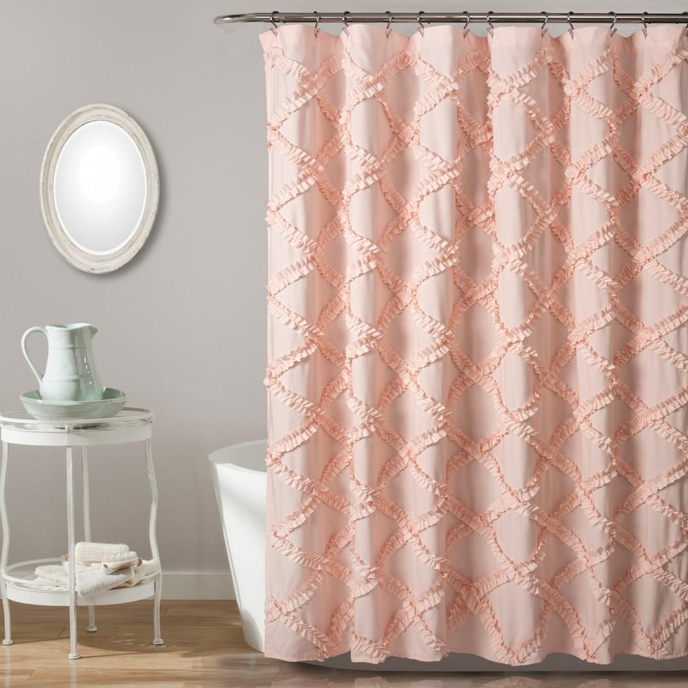 Ruffle Diamond Shower Curtain Blush Pink - Lush Décor