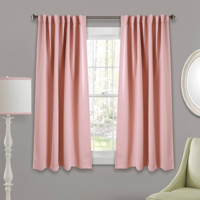 """63""""x52"""" Insulated Back Tab Blackout Window Curtain Panels Pink - Lush Décor"""