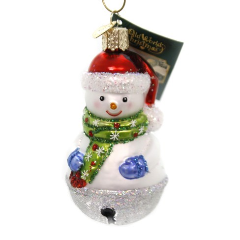 Christmas Bell.Old World Christmas 3 5 Jingle Bell Snowman Ornament Mittens Scarf