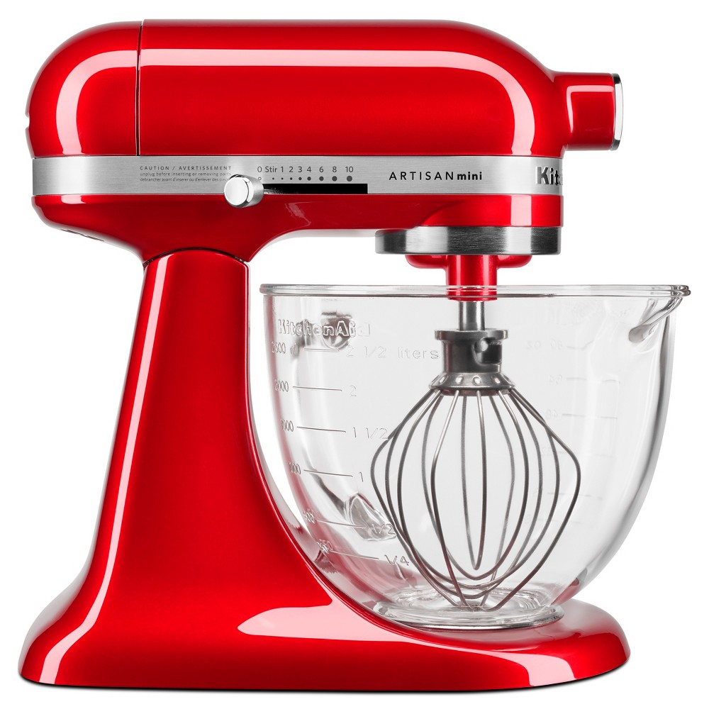KitchenAid 3.5qt Artisan Mini Design Series Tilt-Head Stand Mixer Candy Apple Red - KSM3306XCA Mini Mixer. Powerful Performance. The Artisan Mini Design Series tilt-head stand mixer makes up to 5 dozen cookies in a single batch, with the same power as the full size KitchenAid tilt-head Stand Mixers while being 20 percent smaller, 25 percent lighter. KitchenAid Artisan Mini Design Series compared to the full size KitchenAid tilt headStand Mixers. Color: Candy Apple Red.