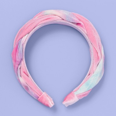 Girls' Tie-Dye Velvet Braid Headband - More Than Magic™ Pink