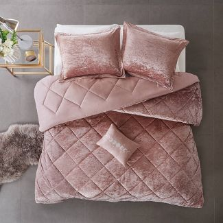 4pc Full/Queen Alyssa Velvet Comforter Set - Blush