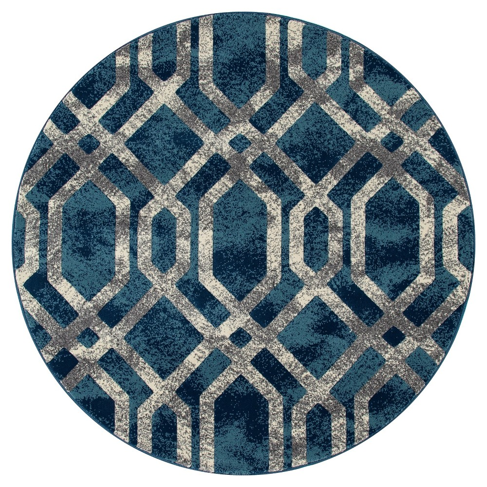 Image of Blue Abstract Woven Round Area Rug - (5') - Art Carpet