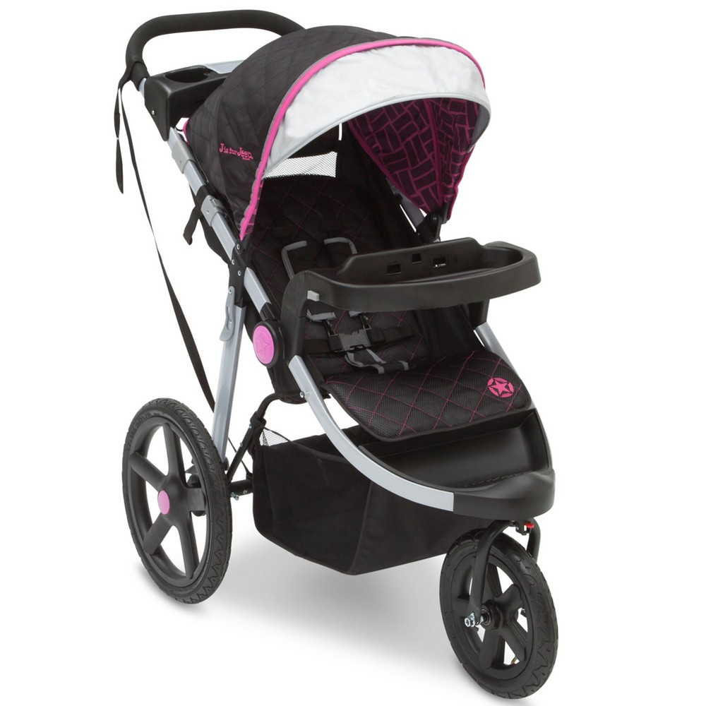 Image of Jeep Adventure All-Terrain Jogger Stroller - Berry Tracks, Pink Tracks