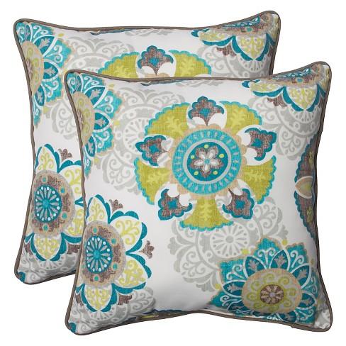 Pillow Perfect Allodala Outdoor 2 Piece Square Throw Pillow Set