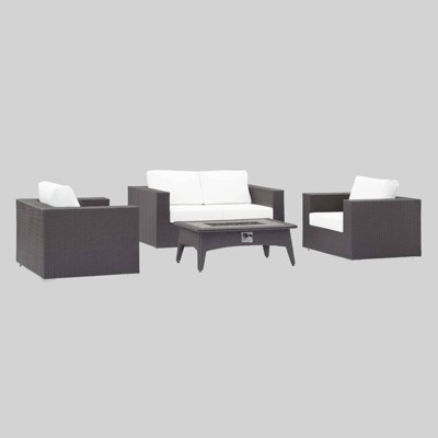Convene 4pc Outdoor Fire Pit Patio Seating Set White - Modway