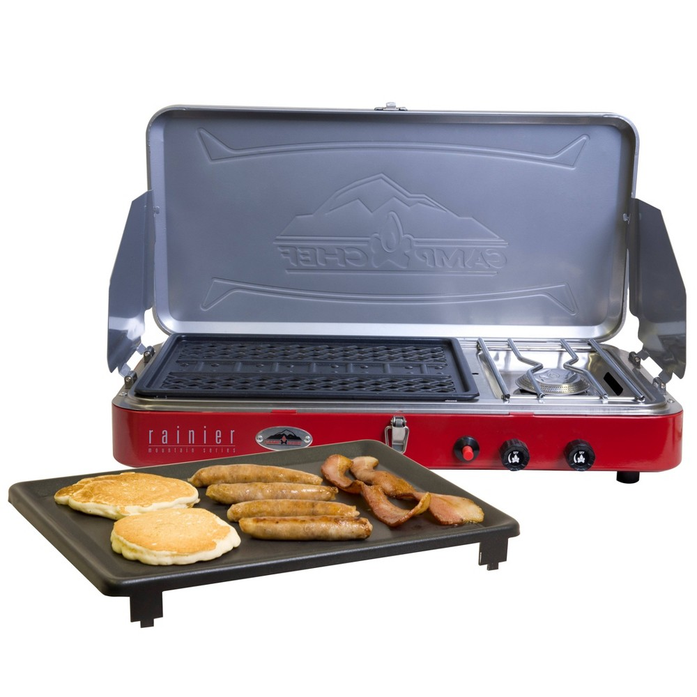 Image of Camp Chef 2-Mountain Series Burner Stove, Grill & Griddle Combo - Aluminum, Silver