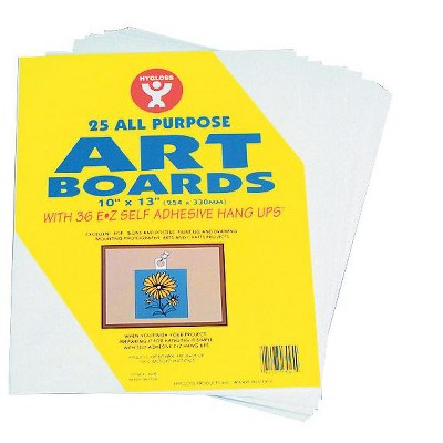Hygloss Multi-Purpose Art Board with Self-Adhesive Hanger, 10 x 13 Inches, White, pk of 25