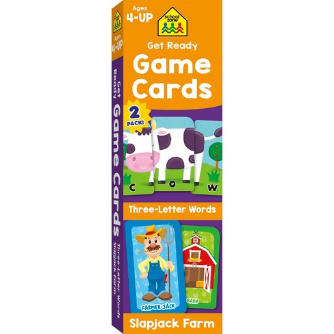 Get Ready Game Cards 2 Pack Three Letter Words Slapjack Farm Ages 4 Up School Zone Publishing Target