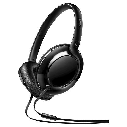 b224e49abb7565 Philips® Flite Aerolite Lightweight Over-ear Wired Headphones With Mic -  Black : Target