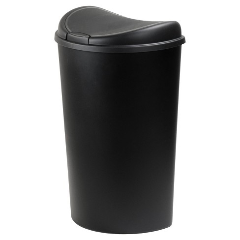 Hefty 13.3 Gallon Large Round Touch Lid Trash Can - Black - image 1 of 4
