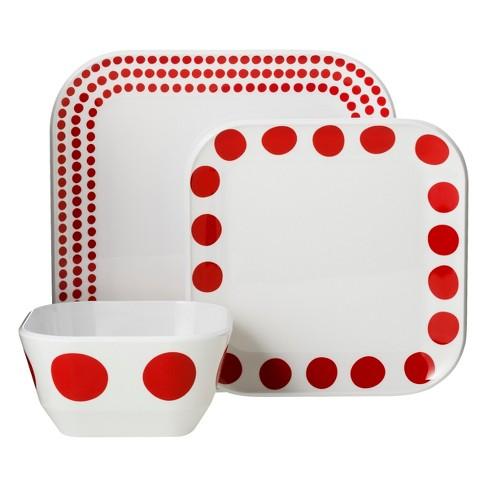 Square Melamine 12pc Dinnerware Set Red Dots Room Essentials