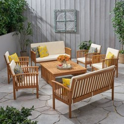 Carolina 8pc Acacia Chat Set - Christopher Knight Home