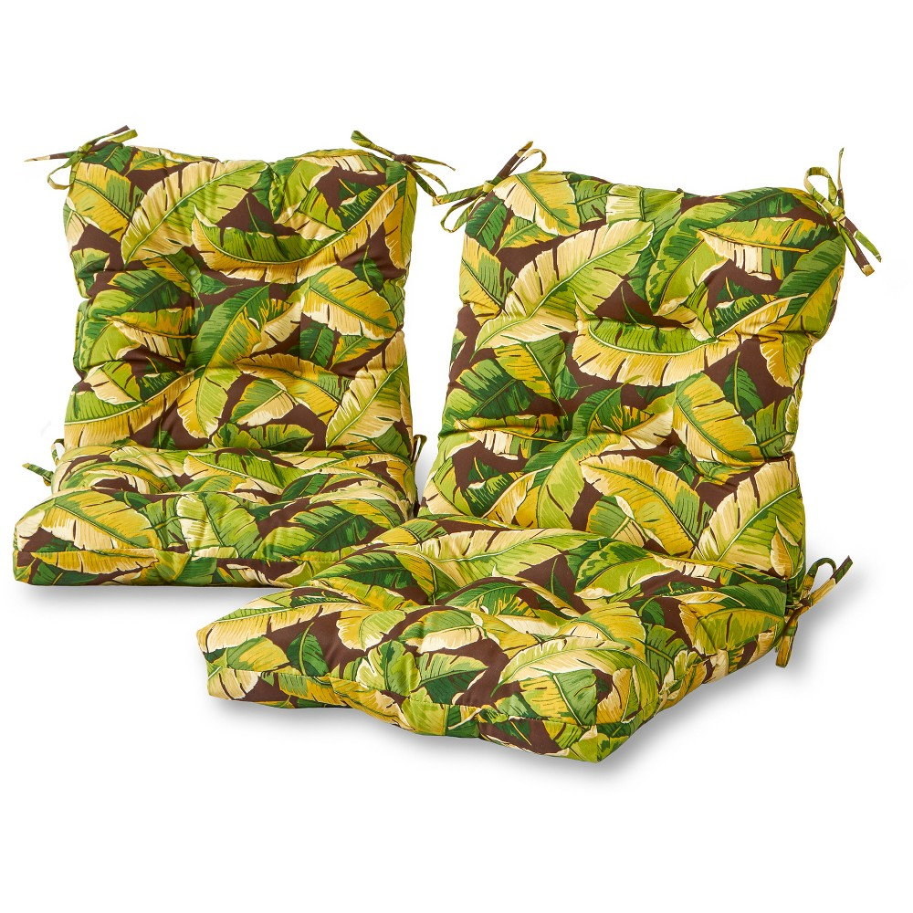 Set of 2 Outdoor Seat-Back Chair Cushions - Palm Leaves Green - Kensington Garden