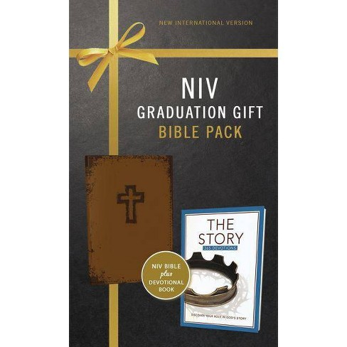 NIV, Graduation Gift, Bible Pack for Him, Brown, Red Letter Edition - by  Zondervan - image 1 of 1