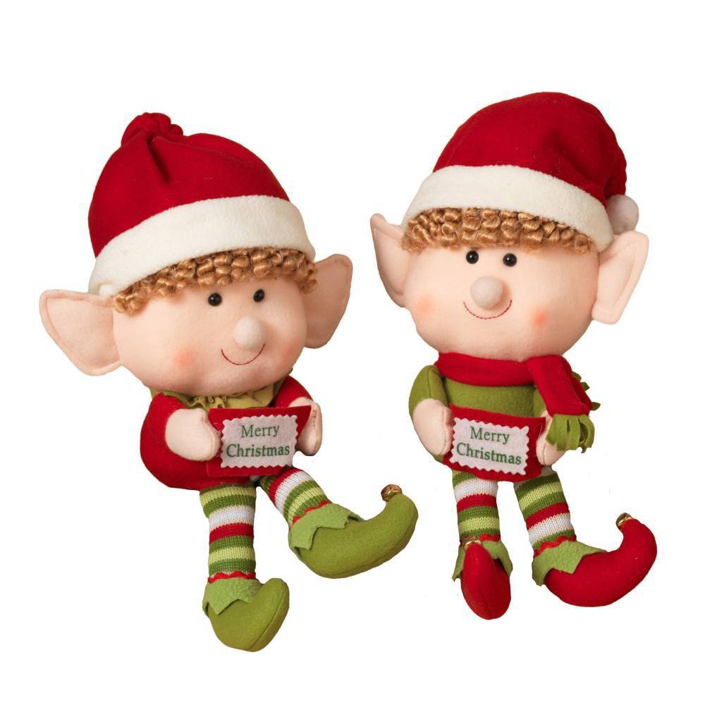 Image of 2ct Jumbo Plush Elf Shelf Sitters Decorative Figurine Set - Gerson International