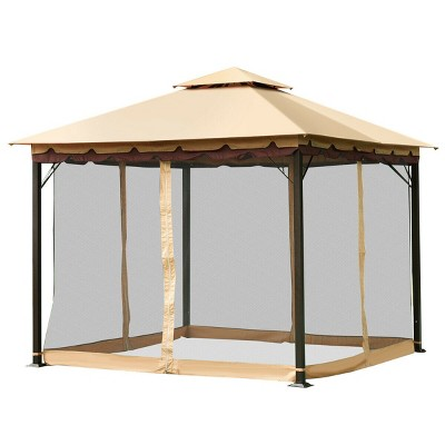 Costway 2-Tier 10'x10' Gazebo Canopy Tent Shelter Awning Steel Patio Garden Outdoor