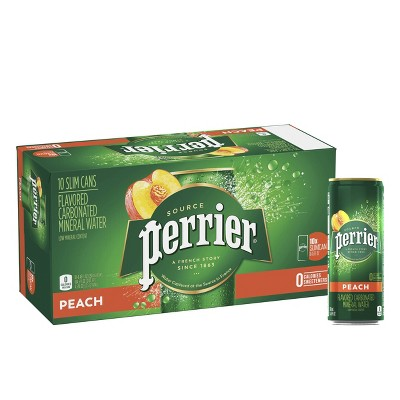 Perrier Peach Flavored Carbonated Mineral Water - 10pk/8.45 fl oz Cans