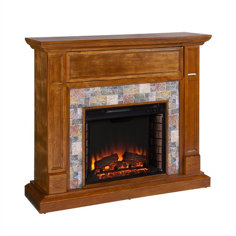 Vogdon Faux Stone Media Fireplace Brown - Aiden Lane - image 1 of 4
