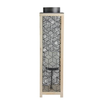 """Melrose 26"""" Contemporary Wooden and Black Metal Decorative Candle Lanterns"""