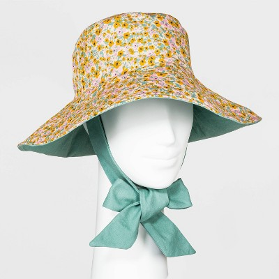 Women's Floral Print Canvas Bucket Hat with Ties - Universal Thread™ Green One Size