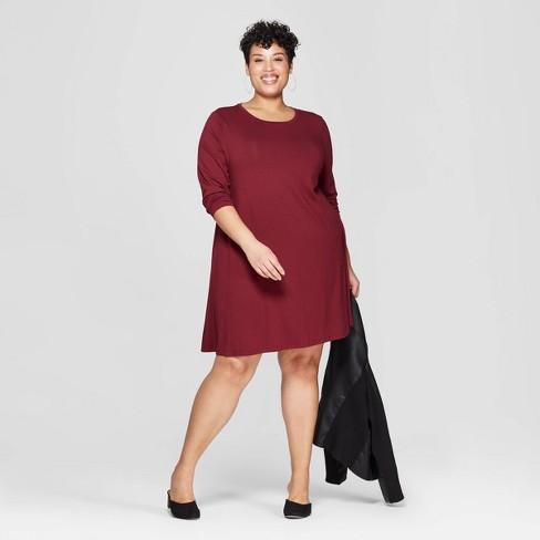 2f135bc083cf Women's Plus Size Long Sleeve Scoop Neck Knit Swing Dress - Ava & Viv™ Burgundy  X : Target