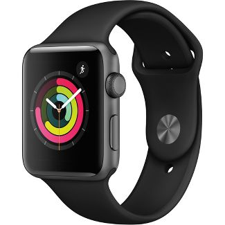 Apple Watch Series 3 GPS 42mm Space Gray Aluminum Case with Sport Band - Black