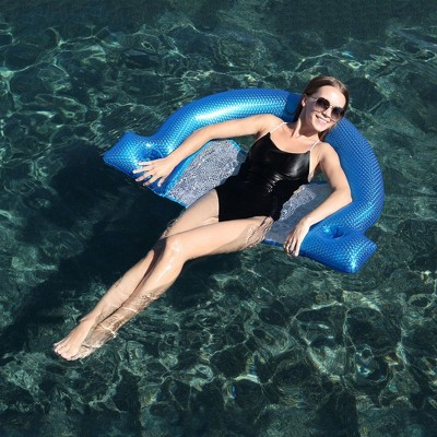 """Pool Central 45.5"""" Inflatable Blue Swimming Pool Mesh Sling Chair Pool Float"""