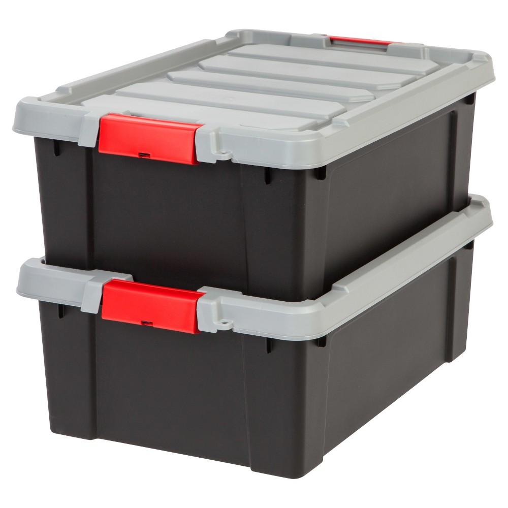 Image of IRIS 10 Gal. Heavy Duty Plastic Storage Bin - 2pk, Black