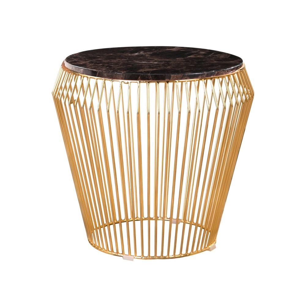 Gallia Marble & Stainless Steel End Table Gold - Abbyson Living