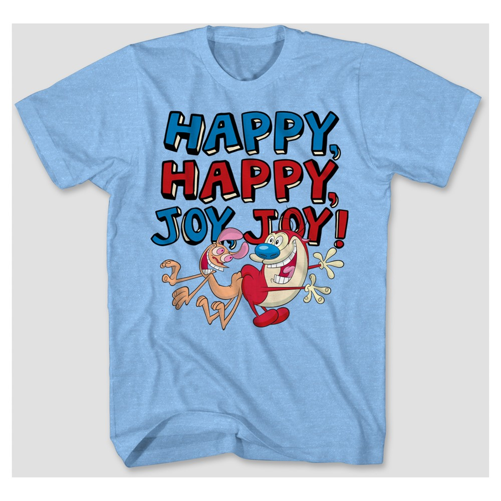 Men's Ren & Stimpy Graphic T-Shirt - Light Blue heather XL