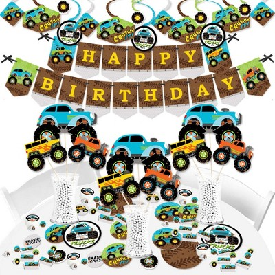 Big Dot of Happiness Smash and Crash - Monster Truck - Boy Birthday Party Supplies - Banner Decoration Kit - Fundle Bundle