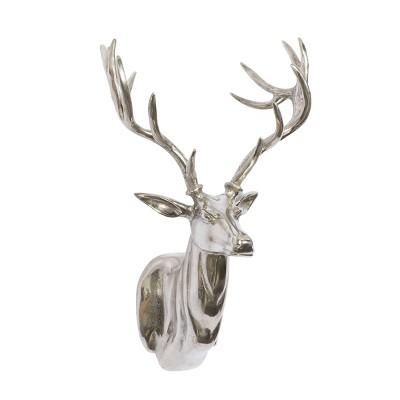 Traditional Aluminum Deer Trophy Head Wall Decor - Olivia & May